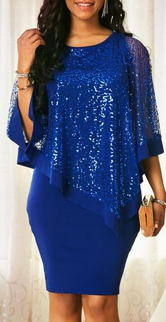 Blue Overlay Sequin Detail Sheath Dress - Women's style: Patterns of sustainability African Wear Dresses, Latest African Fashion Dresses, African Print Fashion, Women's Fashion Dresses, Fashion Fashion, Trendy Dresses, Trendy Outfits, Lace Dress Styles, Classy Dress