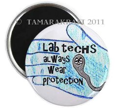 Lab Protection Magnet or Button B19 by tamarakraft on Etsy, $2.00