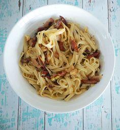 Easy Carbonara Pasta with Chicken and Cashews - Create Bake Make