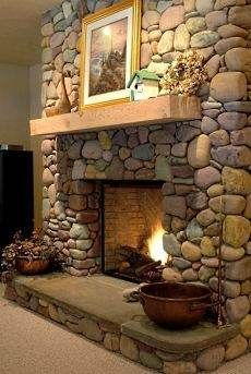 river stone fireplaces   Standout River Rock Fireplace Designs . . . All Time Favorites!