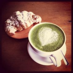 Matcha Latte and croissant. Image by Dinah Q.
