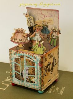 Scrap in Progress: Artist Trading Block: Alice in Wonderlandb Card In A Box, Pop Up Box Cards, 3d Cards, Easel Cards, Box Cards Tutorial, Card Tutorials, Fancy Fold Cards, Folded Cards, Exploding Box Card