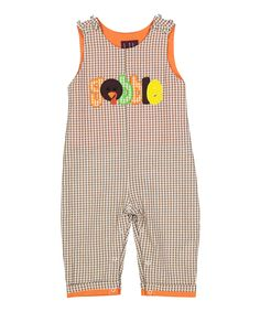 Look at this #zulilyfind! Lil Cactus Light Brown Gingham 'Gobble' Overalls - Infant & Toddler by Lil Cactus #zulilyfinds