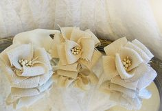 Ivory Burlap Flowers, set of 3, great for cake toppers, table decor and bouquet making. Ready to Ship!