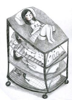 做夢床,躺在這台車床上,枕頭會幫你儲存你的夢,如果希望別人能夠進入你的夢,那就選擇疊高床吧! 加裝輪子就可以環遊各地和大家在夢裡探險去