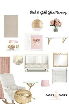 """Pink and Gold Glam Nursery <a class=""""pintag"""" href=""""/explore/Pink/"""" title=""""#Pink explore Pinterest"""">#Pink</a> <a class=""""pintag"""" href=""""/explore/Gold/"""" title=""""#Gold explore Pinterest"""">#Gold</a> <a class=""""pintag searchlink"""" data-query=""""%23Gorgeous"""" data-type=""""hashtag"""" href=""""/search/?q=%23Gorgeous&rs=hashtag"""" rel=""""nofollow"""" title=""""#Gorgeous search Pinterest"""">#Gorgeous</a> Nursery- Babies R Babies"""