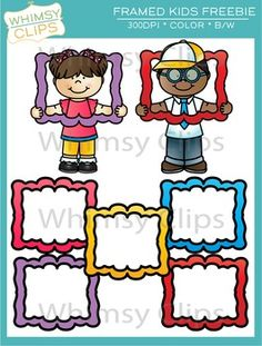 FREE - Framed kids clip art. This fun freebie includes 7 color images and 3 black and white images.