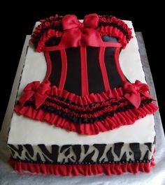 Sexy Red and Black Bustier Bridal Shower Cake - by kgoodpasture @ CakesDecor.com - cake decorating website