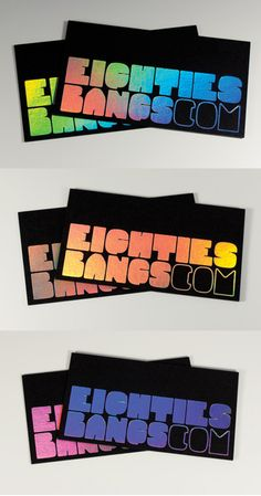 Retro Styled 80s Holographic Foil Business Card Design 鐳射膜