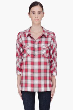 Haute Hippie Red Check Blouse