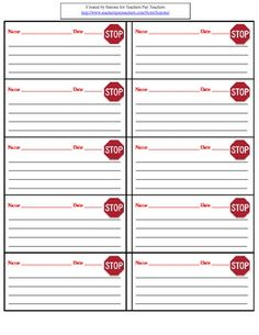Stop cards are used as part of a behavior management system. The student writes down what he/she should have been doing. This is a quick and easy way for the teacher to document behavior. Behavior Management System, Organization And Management, Classroom Organization, Classroom Management, Classroom Ideas, Kindergarten Behavior, Student Behavior, Classroom Behavior, Student Data
