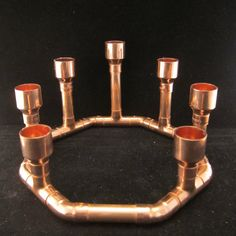 Steampunk copper pipe candle holder with seven candles