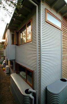 Corrugated iron cladding sections House Cladding, Wall Cladding, Facade House, Cladding Ideas, Metal Cladding, Metal Siding, External Cladding, Tin House, Home Improvement Contractors