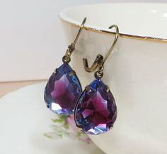 Sapphire Blue Rose Earrings Glass Jewel by dfoxjewelrydesigns