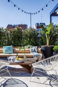 Terraza de un departamento ubicado en Palermo con macetas de plástico rotomoldeado, sillón y banco largo (que también se usa como mesa) de lapacho, diseñados por Net.