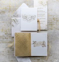 Malika and Steeve Classic Wedding Invitations by Ceci New York