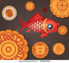 Chinese mid autumn festival background with carp lantern, tea and cake