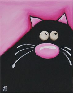 Fat Cat Art Original painting whimsical black cat by Lucia Stewart pink (2) #Modern