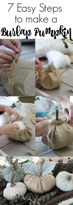 7 easy steps to make no-sew burlap pumpkins for the fall. An easy and inexpensive DIY to add to your fall farmhouse decor.  You won't believe how easy this is!