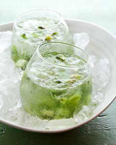 Kiwi Capiroska Cocktail--like the Brazilian caipirinha, but made with vodka and kiwi. Sounds refreshing!