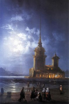 Maiden's Tower by Carlo Bossoli (Swiss-born Italian, 1815–1884)
