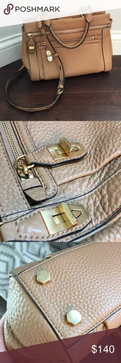 Rebecca Minkoff small Crosby tote Perfect pebbled leather bag in a great camel color for fall! Only signs of wear are on the bottom metal feet as shown in photo. No stains, scratches or defects on the leather or interior of bag.                                                     Will trade for other Rebecca Minkoff Rebecca Minkoff Bags Crossbody Bags