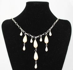 Cream And White Pearl Like Bead Necklace