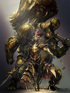 dragon slayer Ornstein and executioner Smough - dark souls Dark Souls Armor Sets, Arte Dark Souls, Dark Souls 2 Bosses, Ornstein Dark Souls, Soul Saga, Dragon Slayer, Bloodborne, Fantasy Warrior, Dark Fantasy Art
