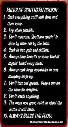 Rules of Southern Cookin'