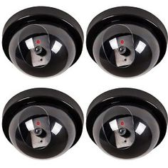 WALI 4 Pack Santa Camera Dummy Fake Security CCTV Dome Camera with Flashing Red LED Light with Warning Security Alert Sticker Decals - Personal Gear Products Search Security Surveillance, Security Alarm, Security Tips, Surveillance System, Red Led Lights, Wireless Home Security Systems, Dome Camera, Home Defense