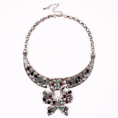 Stylish Alloy Exaggeration Butterfly Shape Pendant Inlaid Drill Women Ladies Jewelry Necklace