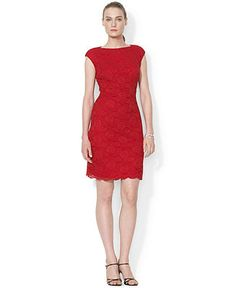 Lauren Ralph Lauren Cap-Sleeve Lace Dress Women - Dresses - Macy s c2d60bbc54