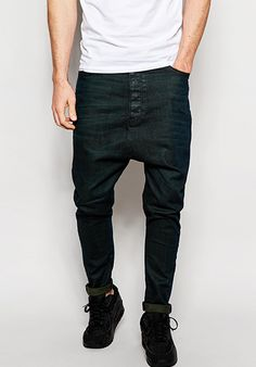 Shop ASOS Drop Crotch Jeans With Green Tint