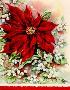 Modern Greeting Cards, Paper & Ephemera, Collectables Page 8 Vintage Christmas Images, Antique Christmas, Retro Christmas, Christmas Art, Christmas Decorations, Christmas Ideas, Old Time Christmas, Christmas Poinsettia, Old Fashioned Christmas