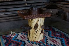 twisted juniper log vanity with live edge wood slab