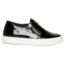 GIUSEPPE ZANOTTI DESIGN 'Eve' calf patent leather slip-on sneakers (€265) ❤ liked on Polyvore featuring shoes, sneakers, patent leather shoes, patent leather sneakers, slip on sneakers, wedge shoes and white trainers