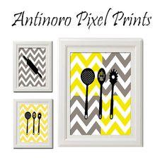 Spring Yellow and Grey Chevron Kitchen Art by antinoropixelprints, $25.00