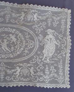 Antique Figural Filet Lace Table Runner