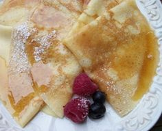 Crepes Drizzled with Vanilla Maple Syrup -- Vermont Maid - Great tasting maple syrup - Sweet Breakfast, Breakfast Recipes, Snack Recipes, Cooking Recipes, Buttermilk Recipes, Coconut Recipes, Churros, Crepe Batter, How To Make Crepe