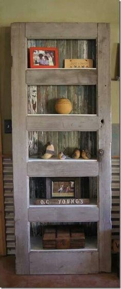 Rustic door turned shelf