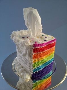 Custom-made Crocheted Layer Cake Novelty Tissue Box Cozy Cover Rainbow