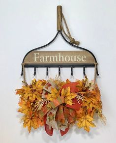 Farmhouse Metal Rake Leaves Fall Harvest, Thanksgiving Front Door Wreath, Autumn Fall Halloween Decor, Leaves Wall Decorations - All For Decorations Harvest Decorations, Halloween Decorations, Wall Decorations, Christmas Decorations, Rake Decor, Fall Harvest, Autumn Fall, Autumn Leaves, Farmhouse Wall Decor