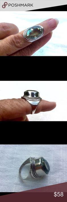 Green Amethyst / Prasiolite Sterling Silver Ring Green Amethyst / Prasiolite 925 Sterling Silver Ring  size 6 Jewelry Rings