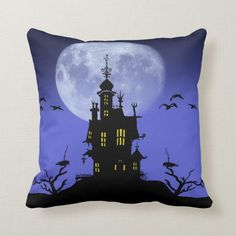 Shop Spooky house throw pillow created by ElMosky. Halloween Night, Halloween Crafts, Halloween Decorations, Spooky House, Halloween Pillows, Custom Pillows, White Elephant Gifts, Horror, Scary