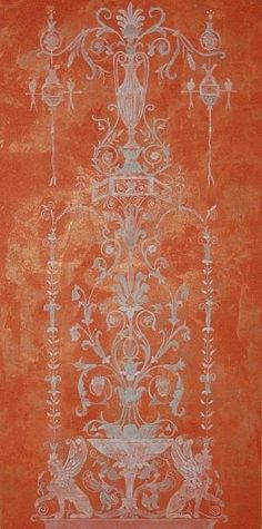 Hand painted Red Pompeii II Painting  - neo classical faux fresco