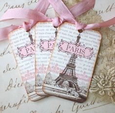 Paris Tags - Vintage French Tags - Eiffel Tower Tags - Paris 1889 Exposition, Pink, Sepia - Set of 4