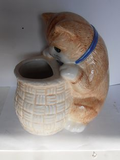 Vintage Treasure craft Cat Kitten vase. Curious Kitty by tjmccarty, $24.00