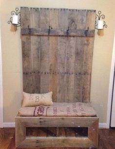 Rustic Bench with Burlap Sack Seat