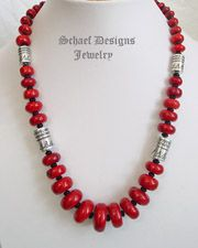 Schaef Designs red coral, black onyx & sterling silver tube bead necklace | Native American, turquoise, & southwestern Jewelry | Schaef Desi...