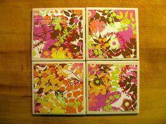 retro floral decorative ceramic coaster set by twocraftybs on Etsy, $12.00